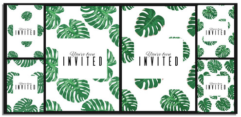 Set of exotic floral background. Tropical leaves card illustration