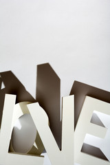 The word Love written with big wooden letters
