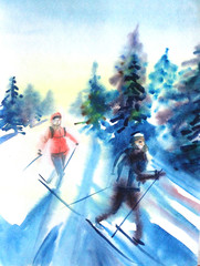 Watercolor drawing painting female and male on ski in winer snow forest. Sport ski nature concept.