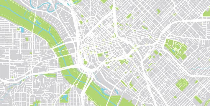 Urban city map of Dallas, Texas