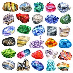 Watercolor minerals and gems collection isolated on white background