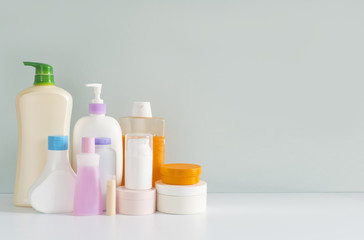Body care products in colorful plastic bottles