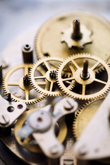 Clock gears close-up