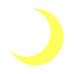 Bright Half Moon Icon Isolated - Crescent, Night, Sky