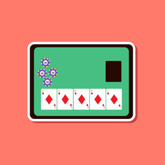 paper sticker on stylish background poker board card chip