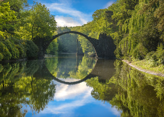 Bridge in rhododendron park in Kromlau, Germany