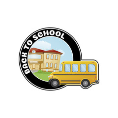 Logo with school bus and text Welcome back to school.