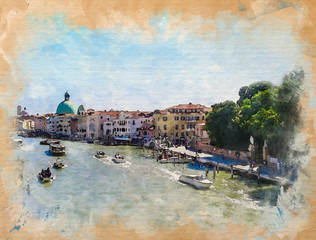 Watercolor pattern of Venice