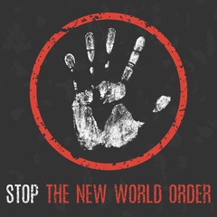 Vector. Social problems. Stop the new world order.