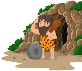 Cartoon caveman inventing stone wheel with cave background