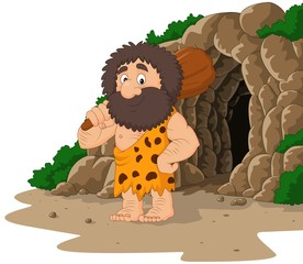 Cartoon caveman holding club with cave background