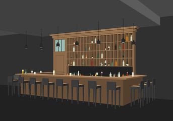 Perspective view of bar interior.