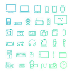 Multimedia device icon line style set isolated on white background. Vector design elements, business signs, logos, identity, labels and other branding objects for your business. Vector Illustration