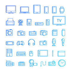 Set of multimedia device icon line style isolated on white background. Vector design elements, business signs, logos, identity, labels and other branding objects for your business. Vector Illustration