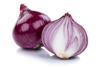 Rote Zwiebel Zwiebeln rot Gemüse geschnitten Freisteller freigestellt isoliert