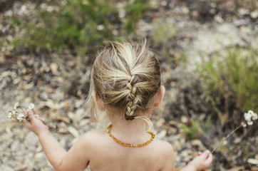 Little girl with blonde braids