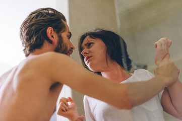 Man and a Woman Arguing in a Shower