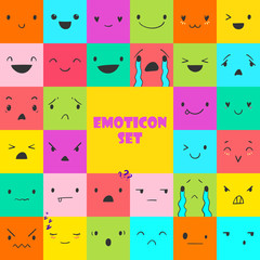 Square colorful emoticons with different emotions, vector set of various hand-drawn cute expressions, EPS 8