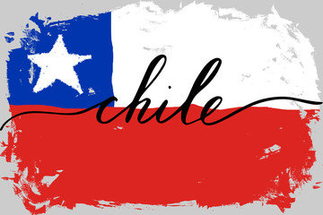 Flag of Chile with handwritten text, vector. There are true colors of flag