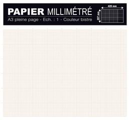 PAPIER MILLIMÉTRÉ FORMAT A3 420x297mm bistre