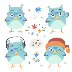vector cartoon style owl set