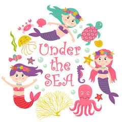 card with mermaid under the sea - vector illustration, eps