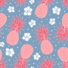 Vector Vintage pineapple seamless pattern
