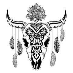 Tribal animal skull illustration with ethnic ornaments