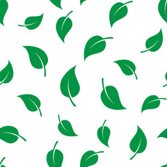 Seamless template texture with green leaves.
