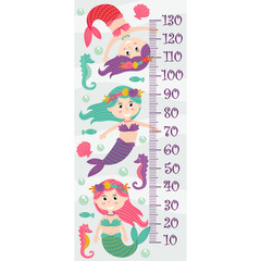 growth measure with mermaids - vector illustration, eps