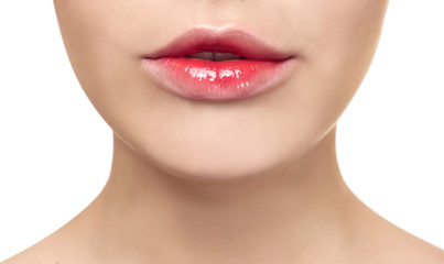 Foto op Canvas Fashion Lips Young woman with beautiful lips on white background, closeup