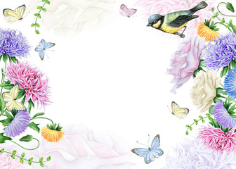 Watercolor Floral Frame with Bird and Butterflies