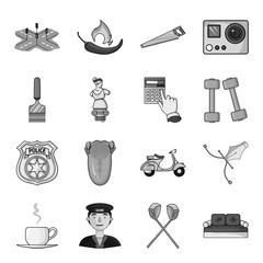 beret, army, putter and other web icon in monochrome style. sports, medicine, entertainment icons in set collection.
