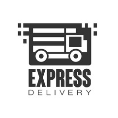 Express delivery logo design template, black vector Illustration on a white background