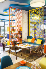 Modern interior of colorful cafe