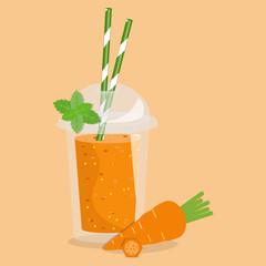 Cartoon smoothie in a transparent plastic glass. Vector illustration