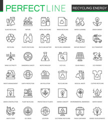 Recycling energy thin line web icons set. Renewable energy, green technology outline stroke icons design.