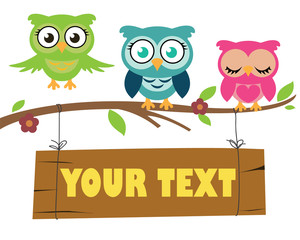 Set of cute owls sitting on a branch or flying above. A sign is hanging tied the the brach, where text is to be altered to preferance.