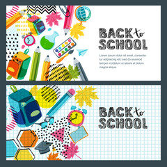 Set of vector back to school sale banner, poster background. Hand drawn sketch letters, multicolor pencils and other school supplies on notebook sheet. Layout for discount labels, flyers and shopping