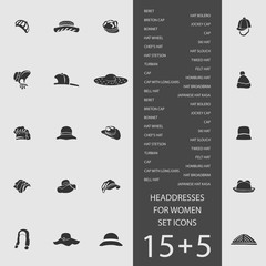 Headdresses for women set of flat icons. Vector illustration
