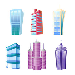 Vector illustration of funny modern buildings set. Colorful and bright houses and skyscrapers in cartoon flat comic style on white background.