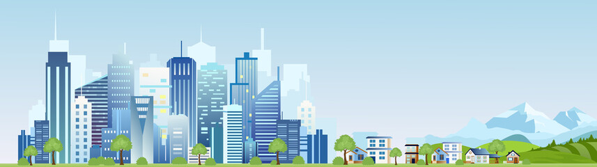 Vector illustration of urban industrial city landscape. Big modern city with skyscrapers with mountains and country houses in flat cartoon style. Wall mural