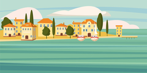 Beautiful seascape, southern city by the sea, houses,cartoon, boats, vector, illustration