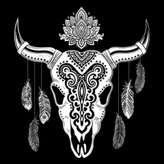 Tribal animal skull illustration
