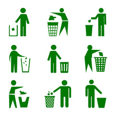 Set of trash can with man – stock vector