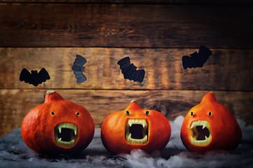 Pumpkins with Vampires teeth