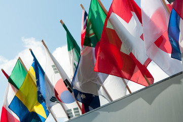 Flags of many nations.