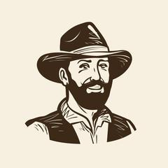Farmer, cowboy logo or label. Vintage vector illustration