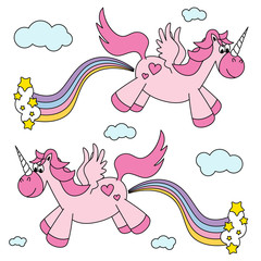 Cute funny pink unicorns farting rainbow and flying