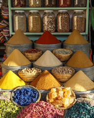 wares at a spice stall in a Marrakesh market